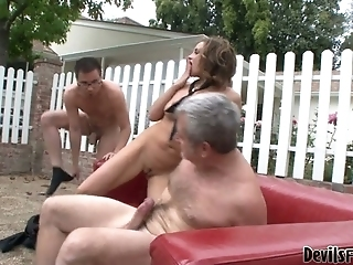 Voluptuous Brunette Milf Is Riding Hard Dong On Top While Sucking Juicy Cock Deepthroat. Mmf